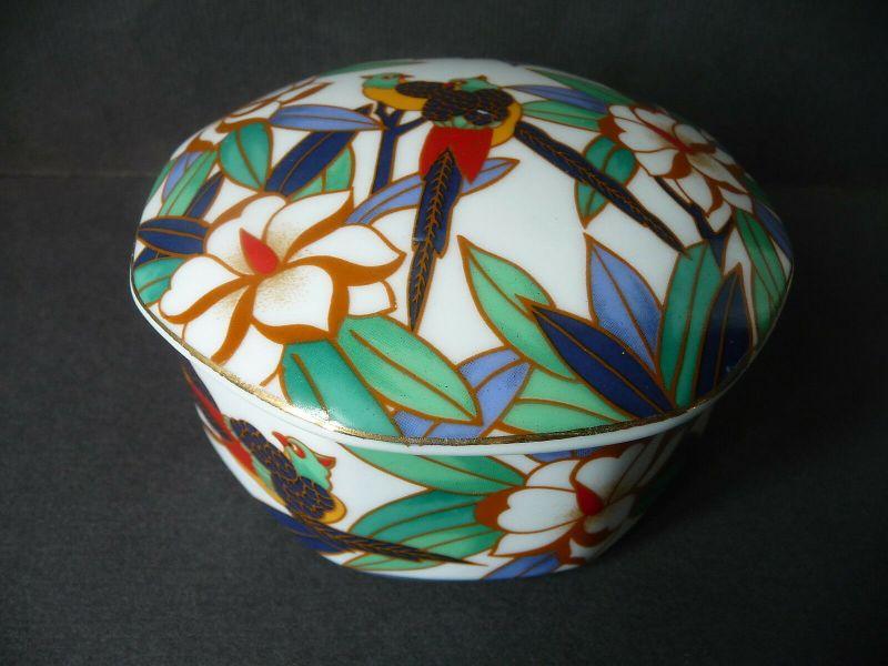 Dose mit Vogel-Motiv Asia-Dekor Porzellan