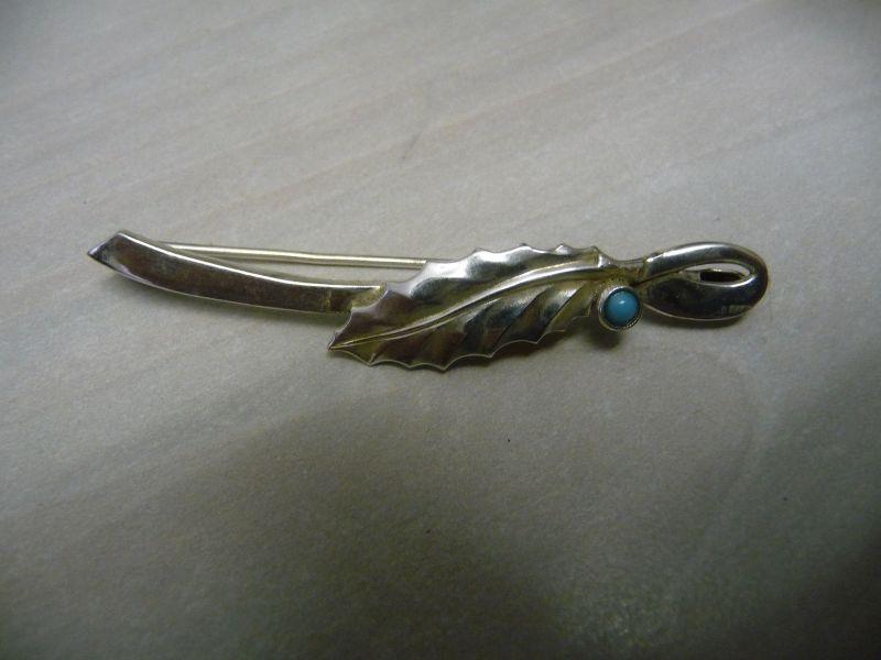 Silberbrosche mit Blatt u. blauem Stein / Silber 835