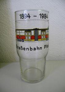Glas Trinkglas Jubiläum Straßenbahn Plauen 1984