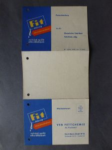 Orig. Reklame Faltblatt Bestellkarte Fit flüssig Spülmittel VEB Fettchemie 1956