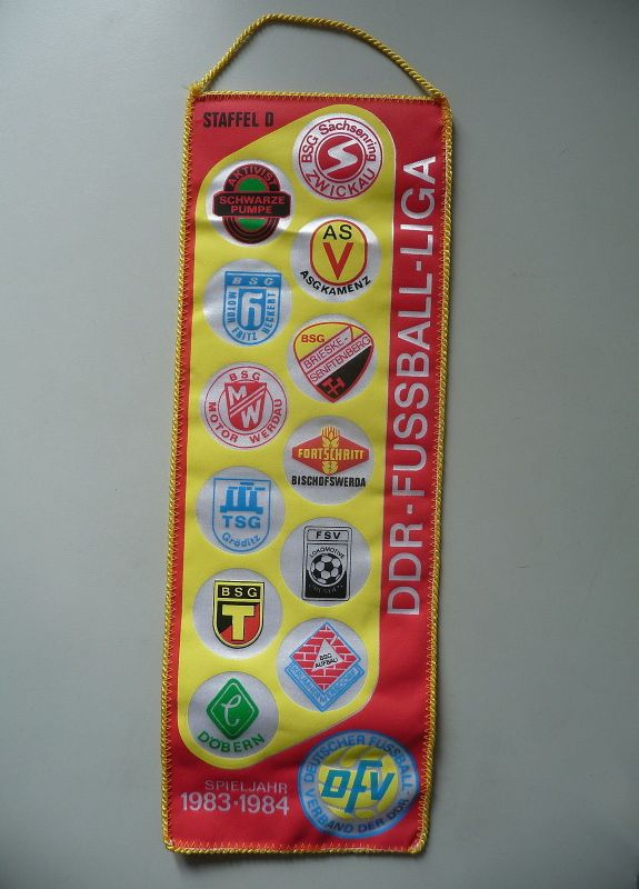 Wimpel DDR-Fußball-Liga Staffel D Vereine Sachsen 1983/84