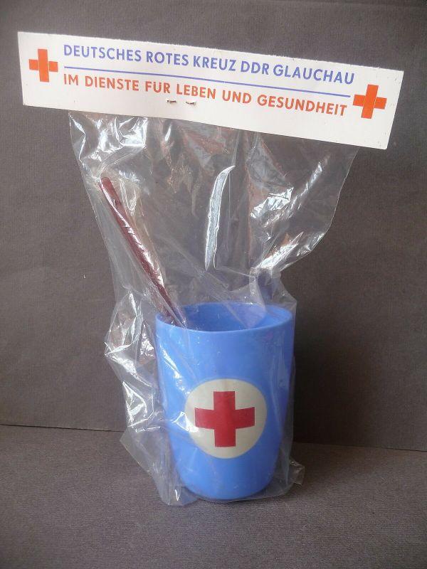 Zahnputz-Set Becher Zahnbürste Purodent / Rotes Kreuz Glauchau DDR