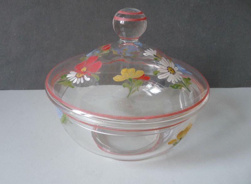 Hübsche Glasdose Deckeldose mit Blumenmalerei handbemalt
