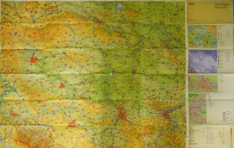 Landkarte Thüringer Becken mit Spezialkarten Geologie 1986
