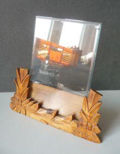 Alter Bildhalter Bildaufsteller für Schreibtisch Holz Glas