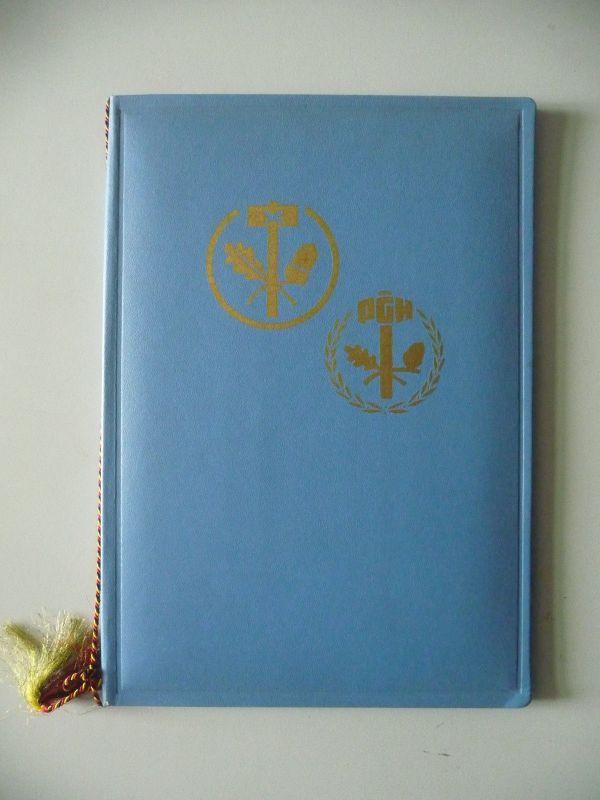 Urkunde in Mappe DDR PGH Ehrenzeichen Handwerk Bronze 1981