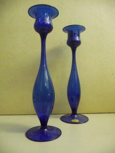 2 Kerzenhalter Kerzenständer aus blauem Glas mundgeblasen 22 cm