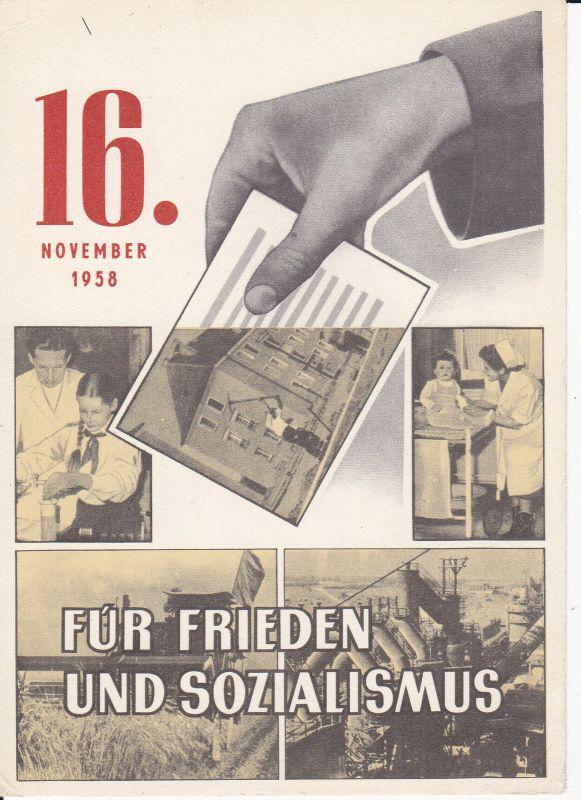Wahl-Benachrichtigung Einsicht Wählerliste Wahl DDR Volkskammer 16.11. 1958 0
