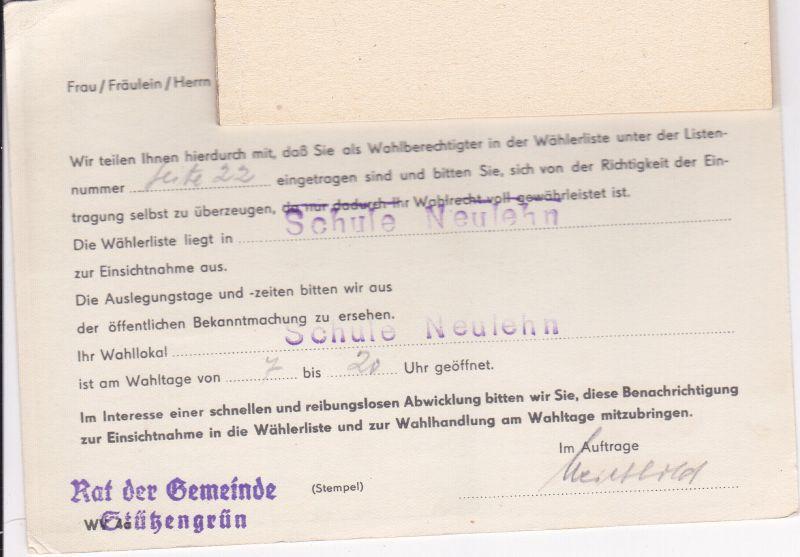 Wahl-Benachrichtigung Einsicht Wählerliste Wahl DDR Volkskammer 16.11. 1958 1