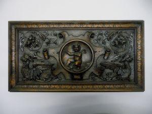 Prächtige Holztafel Holzpaneel mit Verzierungen Gründerzeit Historismus