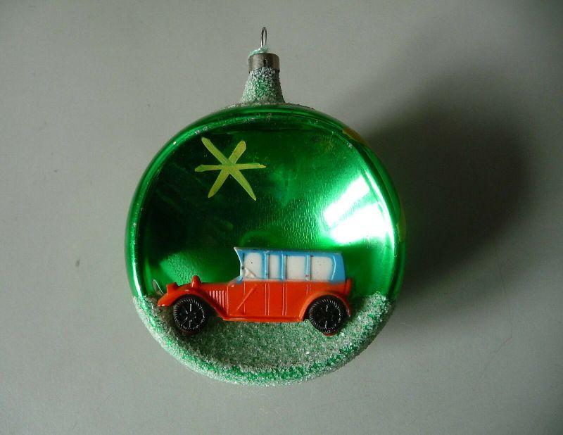 Christbaumkugel Weihnachtsbaum-Schmuck Kunststofffigur Auto / Glaskunst Lauscha