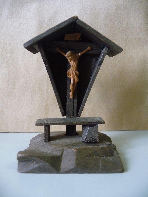 Holzmodell Bildstock Kreuz Jesus Andenken Souvenir Pfronten