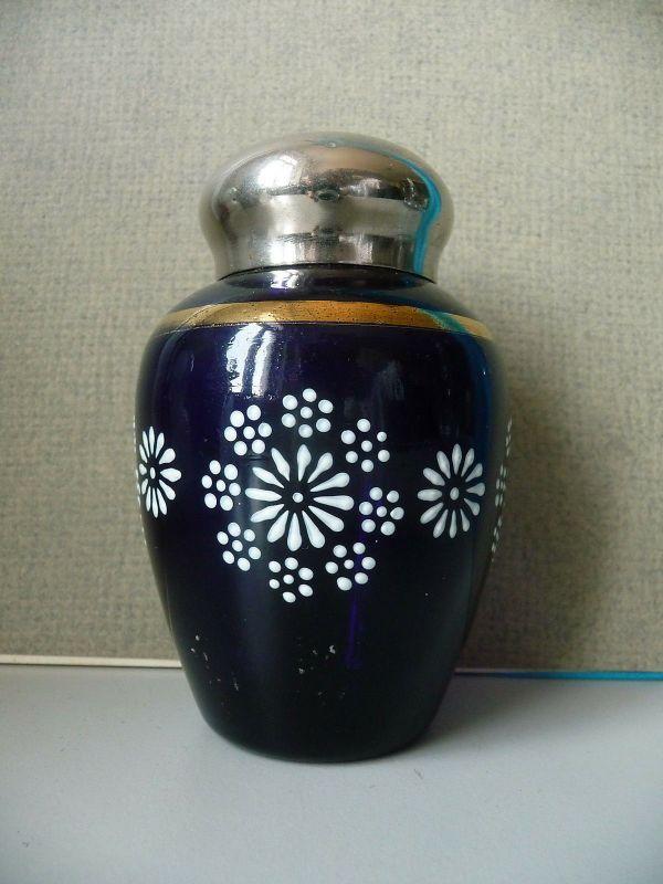 Kleine Deckeldose Teedose Glas Metalldeckel