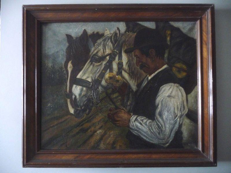 Ölgemälde Mann mit zwei Pferden / Rössiger 1915 0