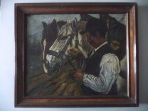 Ölgemälde Mann mit zwei Pferden / Rössiger 1915