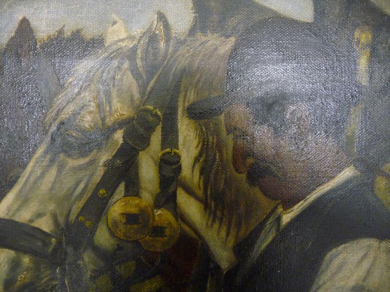 Ölgemälde Mann mit zwei Pferden / Rössiger 1915 1