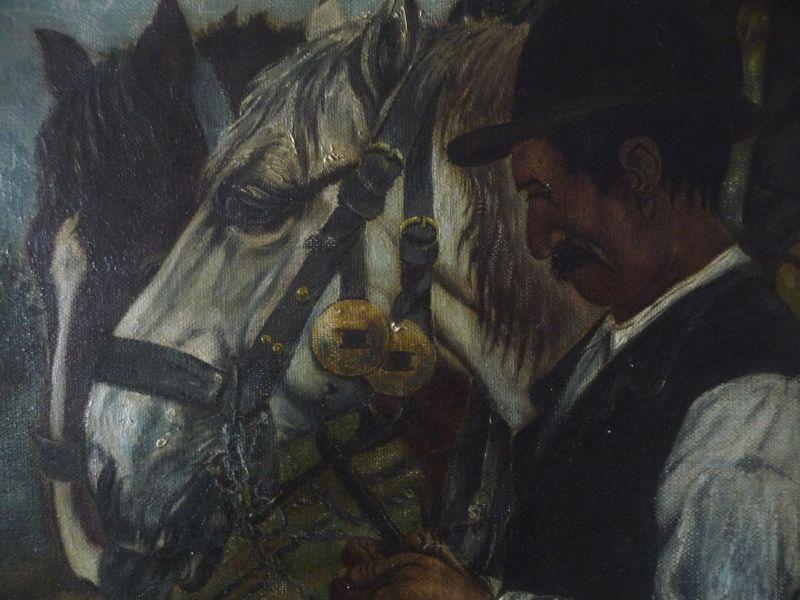 Ölgemälde Mann mit zwei Pferden / Rössiger 1915 2