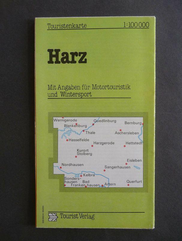 Landkarte Harz Tourist-Verlag DDR 1985