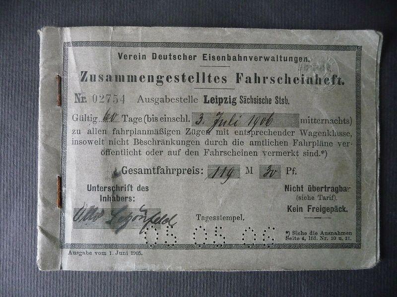 Zusammengestelltes Fahrscheinheft Crimmitschau - Schweiz - Italien 1906 0