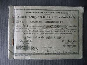 Zusammengestelltes Fahrscheinheft Crimmitschau - Schweiz - Italien 1906