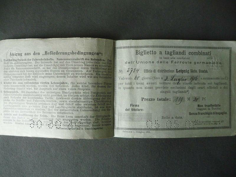 Zusammengestelltes Fahrscheinheft Crimmitschau - Schweiz - Italien 1906 1
