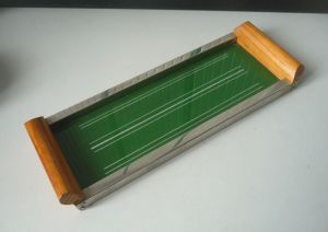 Kleines Tablett Holz Metall Glas DDR Design