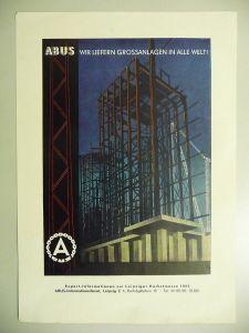 Reklame Anzeige Kleinplakat Abus Stahlbau Leipzig 1955
