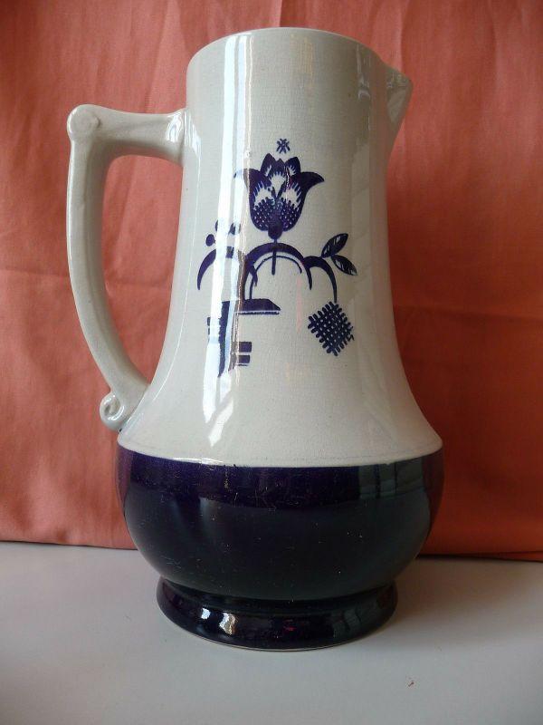 Alter Steingut Krug grau blau / GRM Keramik 2L