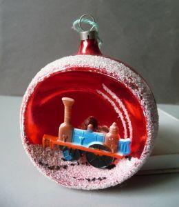 Christbaumkugel Weihnachtsbaum-Schmuck Kunststoff-Dampflok / Glaskunst Lauscha