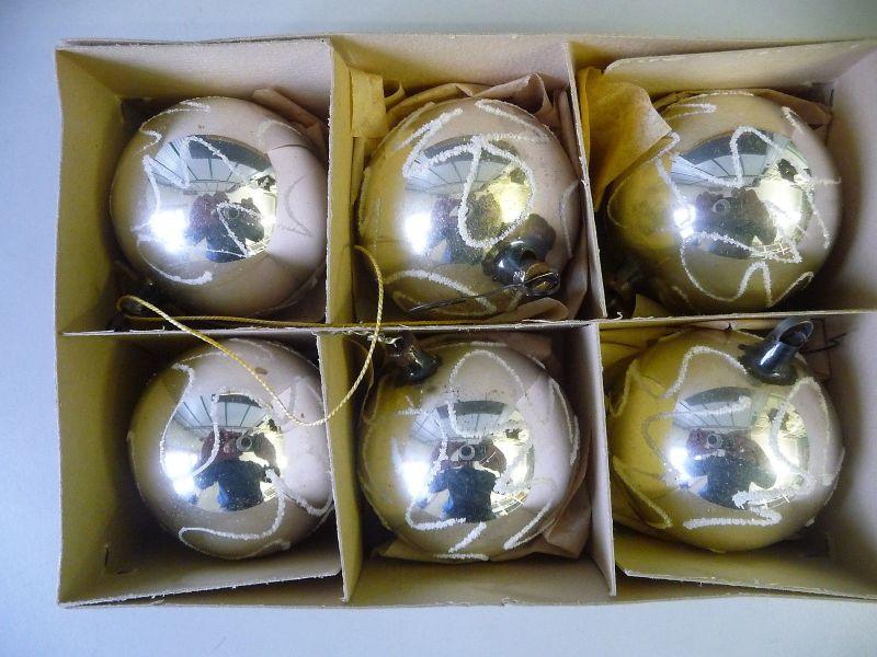 Christbaumkugeln Lauscha.6 Christbaumkugeln Weihnachtsbaum Schmuck Silbern Schneebesatz Lauscha