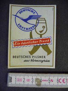 Bier-Etikett Wernesgrüner Pils / Deutsche Lufthansa