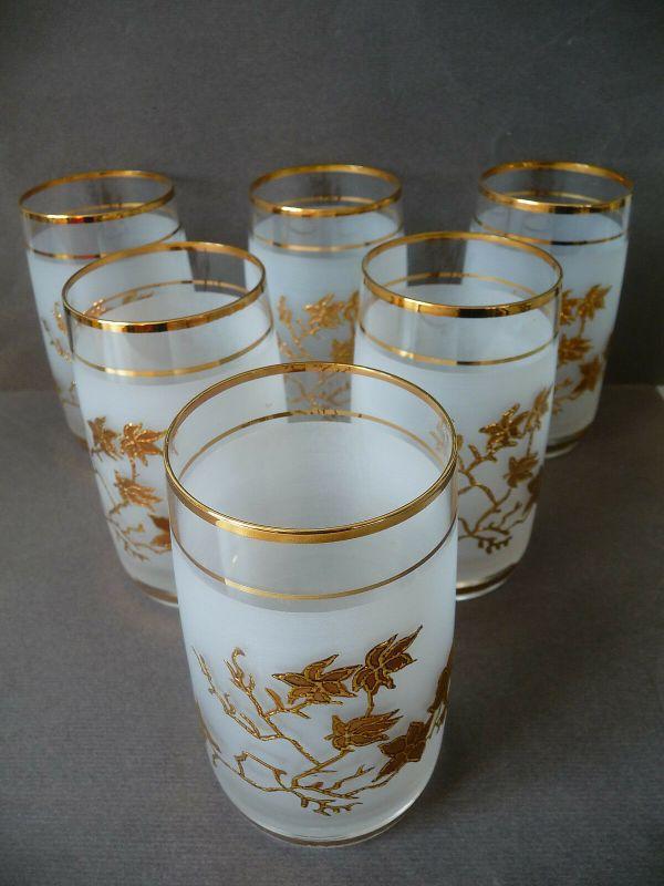 6 edle Gläser Trinkgläser Dekogläser satiniert mit Golddekor