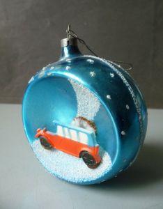 Christbaumkugel Weihnachtsbaum-Schmuck mit Auto / Glaskunst Lauscha