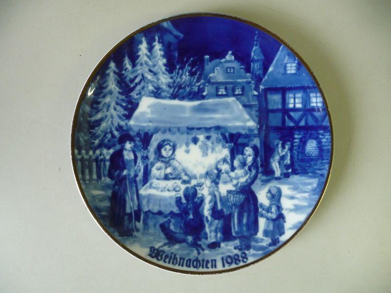 Weihnachtsteller Zierteller Weihnachten 1988 / Wallendorf Porzellan