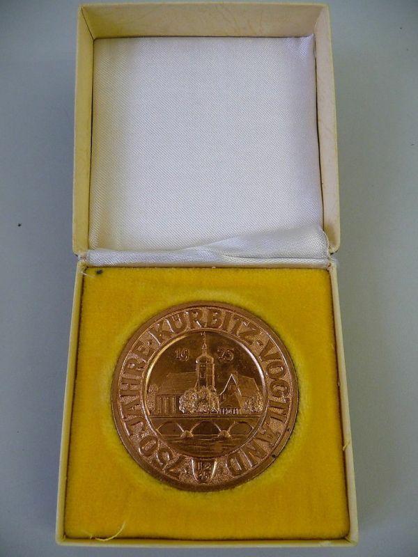 Medaille Kürbitz 750 Jahre 1975 Kupfer in Etui