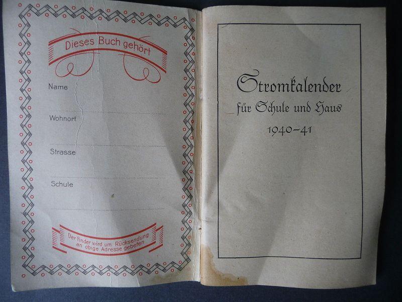 Stromkalender für Schule und Haus 1940/41