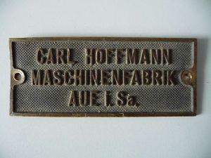 Typenschuld Maschinenfabrik Carl Hoffmann Aue Sa.