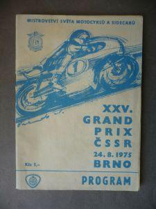 Programmheft Motorrad Grand Prix CSSR Brno / Brünn 1975