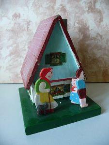 Spardose Sparhaus aus Holz Hänsel und Grete mit Hexe