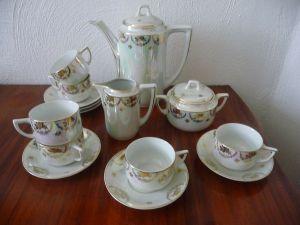 Kaffeeservice Teeservice 15 Teile Perl-Mutt-Porzellan ohne Marke