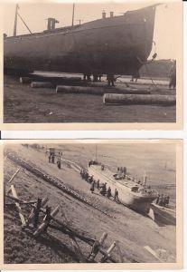 2 Orig. Fotos Schiffstransport zu Lande / WK II 1944