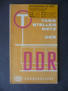 Landkarte Tankstellennetz DDR Minol-Kundendienst 1966