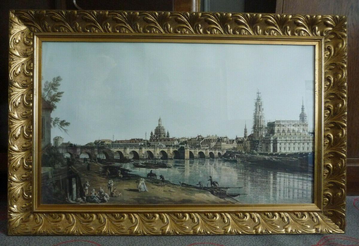 Großer Druck Canelotto Dresden Elbufer Blick in prächtigem Rahmen