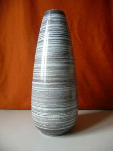 Vase braun-blau Streifendesign DDR / Strehla Keramik