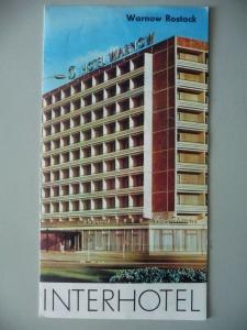Reklameprospekt Faltblatt Interhotel Warnow Rostock ca. 1970