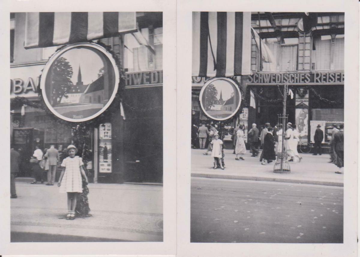 2 x Orig. Foto Straßenszene Geschäfte Reisebüro Fahne Planitz Zwickau ca. 1940