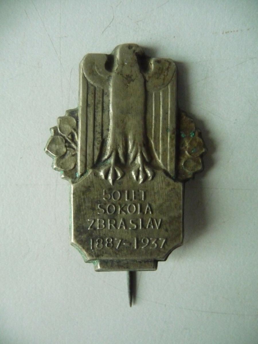 Abzeichen Odznak 50 Let Sokola / 50 Jahre Sokol Zbraslav / Königsaal 1937