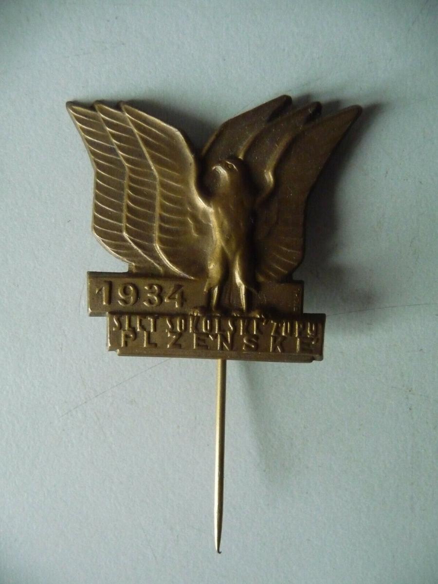 Abzeichen Odznak Slet Sokolske Zupy Plzenske / Sokol Pilsen 1934