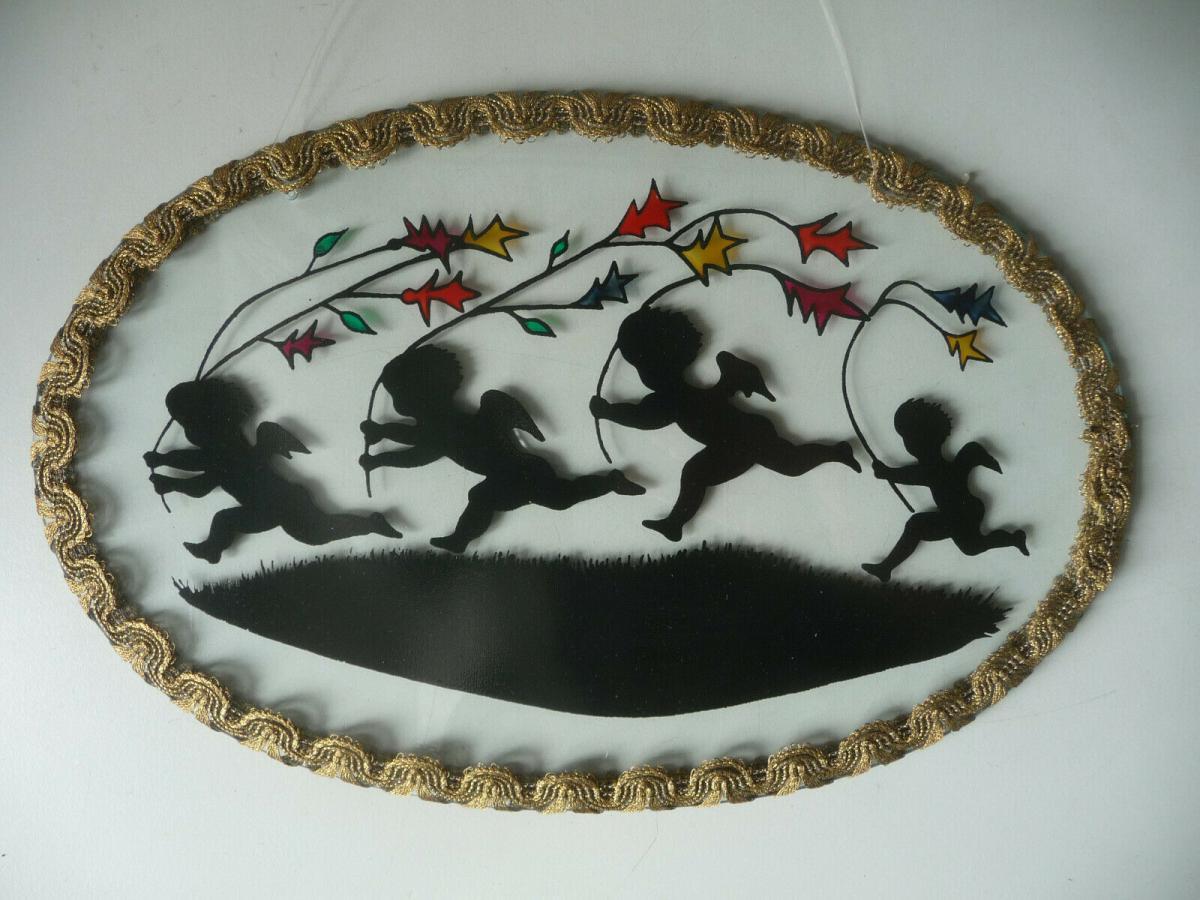 Glasbild oval Schattenriss Kinder Engel mit Drachen 1