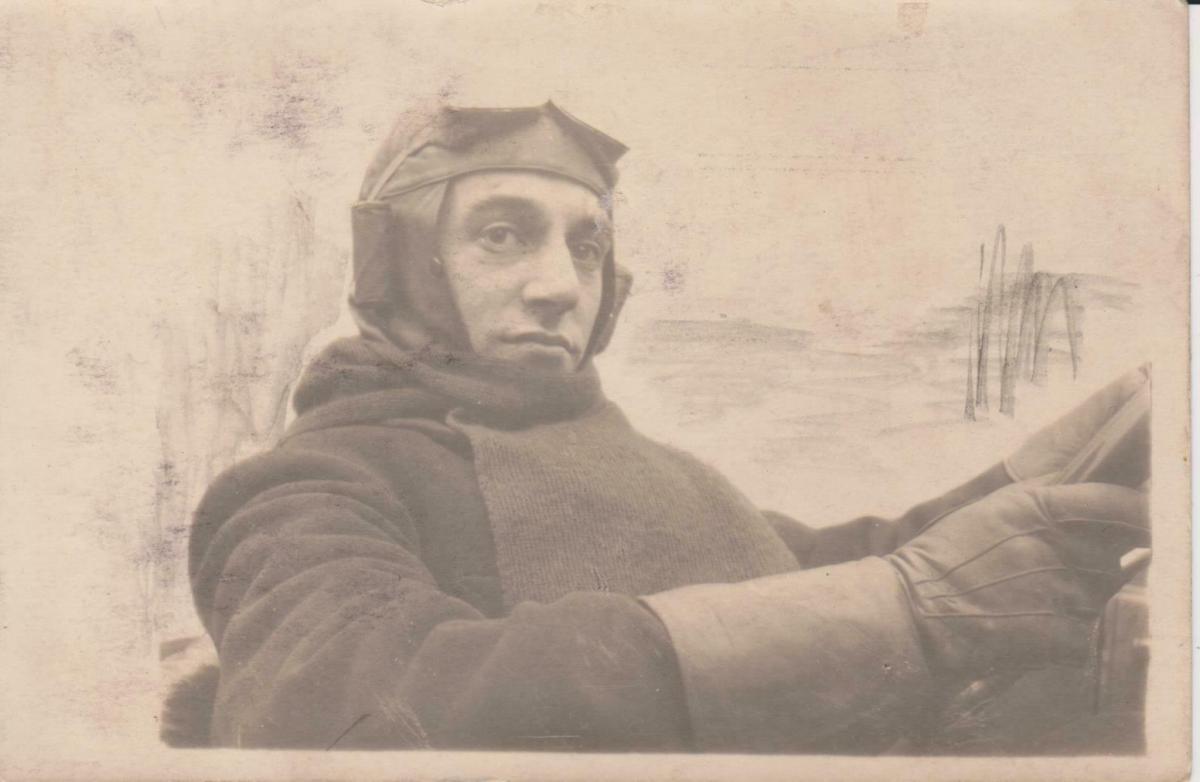 Orig. Foto Porträt Kraftfahrer Chaffeur Mütze Schutzbrille ca. 1920